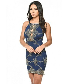 Dress with Gold Emboidery