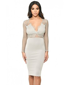 AX Paris Long Sleeved Bodycon Dress with Lace Detail