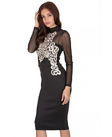 AX Paris and Crochet Detailing Long Sleeved Dress