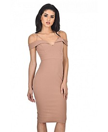Bodycon Midi Dress with Off Shoulder Strappy Detail