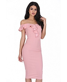 Off the Shoulder Frill Detail Midi Dress