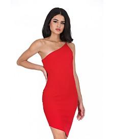 AX Paris Off the Shoulder Asymmetric Hem Dress