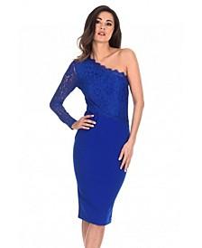 Lace Detail Asymmetric Midi Dress