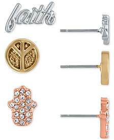 Tri-Tone 3-Pc. Set Inspirational Stud Earrings