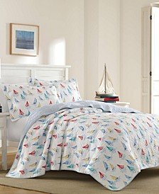 Ahoy Bright Blue Quilt Set, Full/Queen