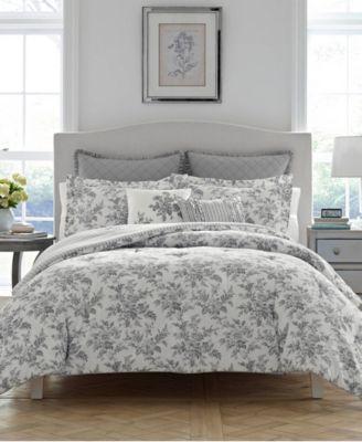 Annalise Floral Shadow Grey Comforter Set, King