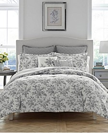 Annalise Floral Shadow Grey Comforter Set, Full/Queen