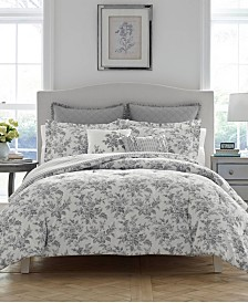 Laura Ashley Annalise Floral Shadow Grey Comforter Set, Full/Queen