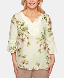 Alfred Dunner Santa Fe Floral-Print Embroidered Top