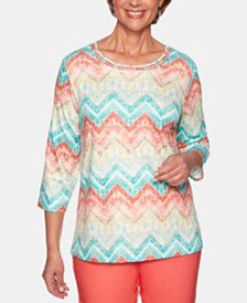 Alfred Dunner Petite Coastal Drive Striped Lattice Top
