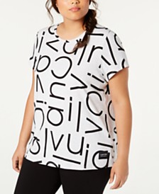 Calvin Klein Performance Plus Size Logo-Print T-Shirt