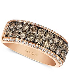 Chocolate and White Diamond 2-row Band (1-1/2 ct. t.w.) in 14k Rose Gold