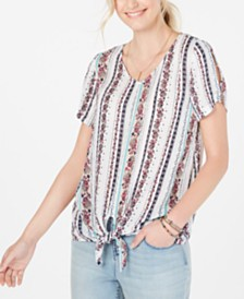 Style & Co Striped Knotted Split-Sleeve Top, Created for Macy's