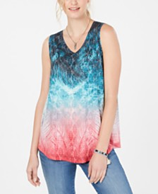 Style & Co Printed V-Neck Swing Top, Created for Macy's