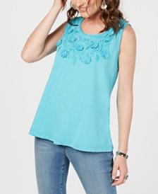 Style & Co Cotton Soutache-Trim Tank Top, Created for Macy's