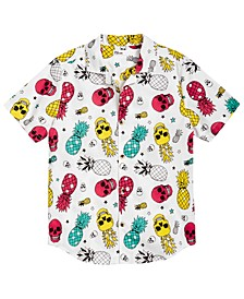 Big Boys Pineapple Skull Poplin Shirt, Created for Macy's