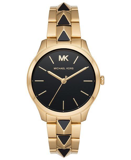 Michael Kors Womens Runway Mercer Gold-Tone Stainless Steel Bracelet Watch 38mm MK6669