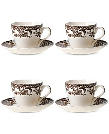 Delamere Teacup & Saucer, Set of 4
