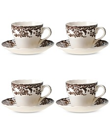 Spode Delamere Teacup & Saucer, Set of 4