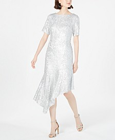 Sequined Asymmetrical Midi Dress