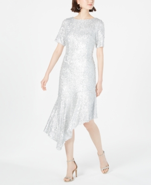 Vintage Evening Dresses and Formal Evening Gowns Adrianna Papell Sequined Asymmetrical Midi Dress $241.99 AT vintagedancer.com