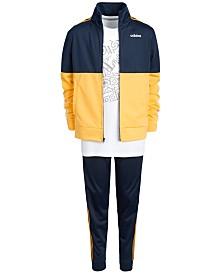 adidas Big Boys Logo-Print T-Shirt, Tricot Jacket & Tricot Jogger Pants Separates