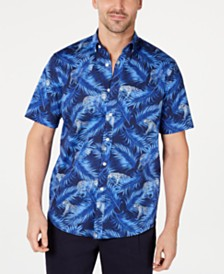 Club Room Men's Stretch Cheetah-Print Jungle Shirt, Created for Macy's