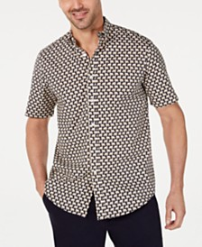 Club Room Men's Stretch Elephant-Print Shirt, Created for Macy's
