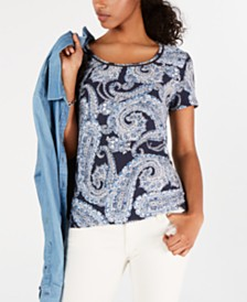 Tommy Hilfiger Ladder-Trim Paisley-Print Top, Created for Macy's
