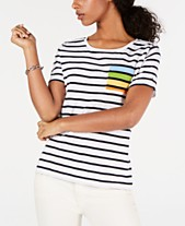67c8a1da1f Tommy Hilfiger Cotton Striped Rainbow-Pocket Top, Created for Macy's