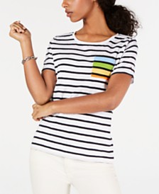 Tommy Hilfiger Cotton Striped Rainbow-Pocket Top, Created for Macy's