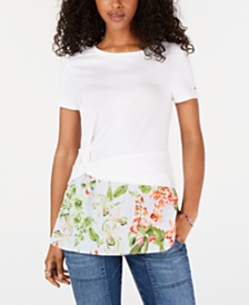 Tommy Hilfiger Twist-Hem Layered-Look Top, Created for Macy's