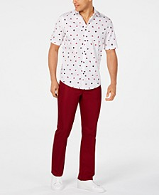 Classic-Fit Fanbrush-Print Shirt & Stretch Shiny Red Twill Pants, Created for Macy's