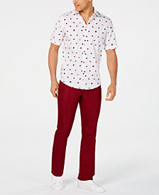 Alfani Classic-Fit Fanbrush-Print Shirt & Stretch Shiny Red Twill Pants, Created for Macy's