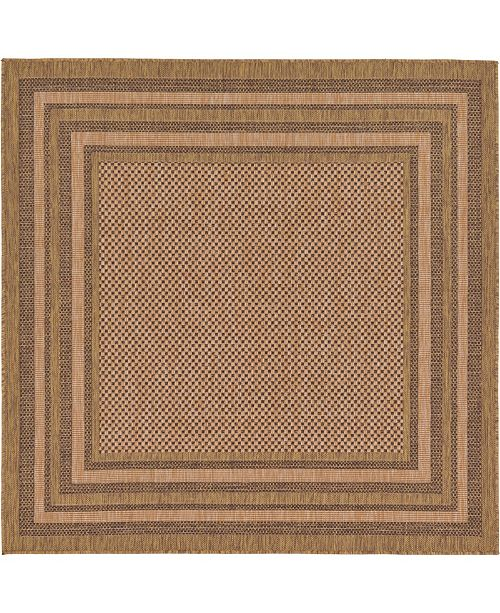 Bridgeport Home Pashio Pas6 Brown 6' x 6' Square Area Rug