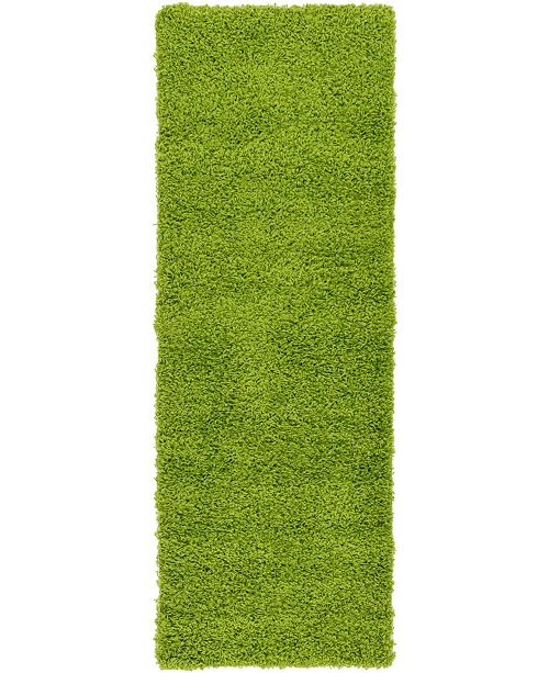 "Bridgeport Home Exact Shag Exs1 Grass Green 2' 2"" x 6' 5"" Runner Area Rug"