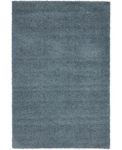 Bridgeport Home Salon Solid Shag Sss1 Slate Blue 4' x 6' Area Rug