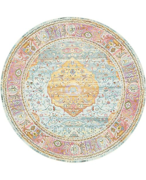 "Bridgeport Home Kenna Ken1 Multi 8' 4"" x 8' 4"" Round Area Rug"