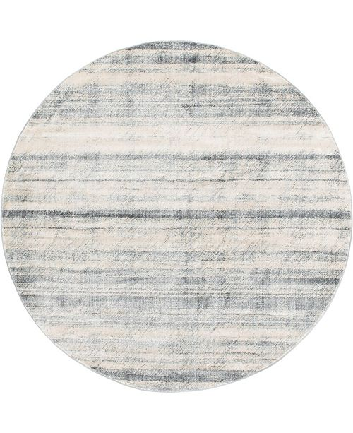 Bridgeport Home Haven Hav3 Gray 8' x 8' Round Area Rug