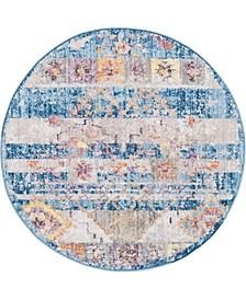 "Nira Nir4 Blue 3' 3"" x 3' 3"" Round Area Rug"