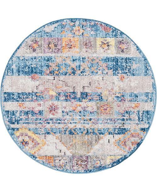 "Bridgeport Home Nira Nir4 Blue 3' 3"" x 3' 3"" Round Area Rug"