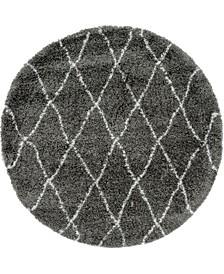 Fazil Shag Faz3 Gray 5' x 5' Round Area Rug