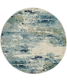 Crisanta Crs7 Light Blue 4' x 4' Round Area Rug