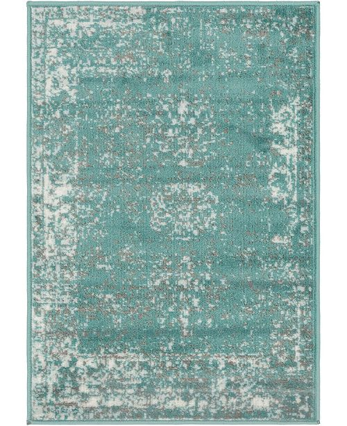"Bridgeport Home Basha Bas1 Turquoise 2' 2"" x 3' Area Rug"