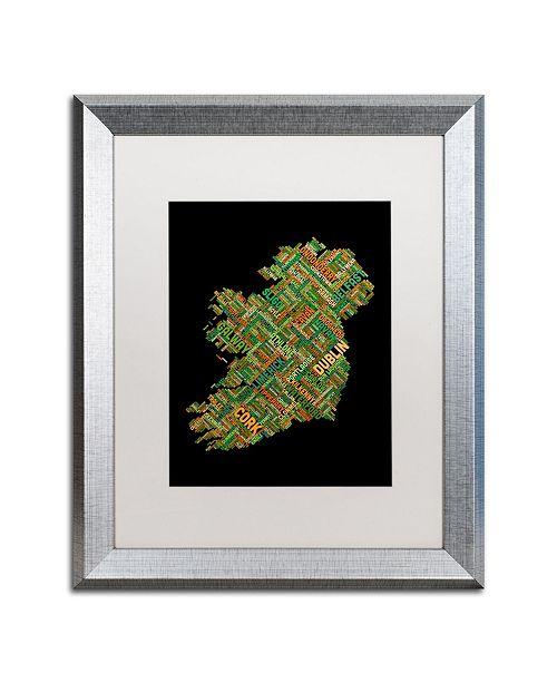 """Trademark Global Michael Tompsett 'Ireland Eire City Text Map' Matted Framed Art - 16"""" x 20"""""""