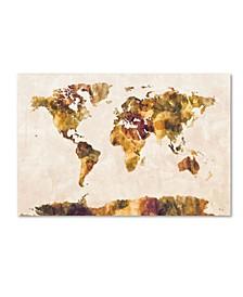 "Michael Tompsett 'World Map Watercolor Painting' Canvas Art - 16"" x 24"""