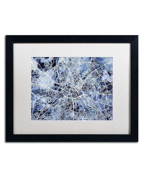 """Trademark Global Michael Tompsett 'Manchester Street Map B&W' Matted Framed Art - 16"""" x 20"""""""