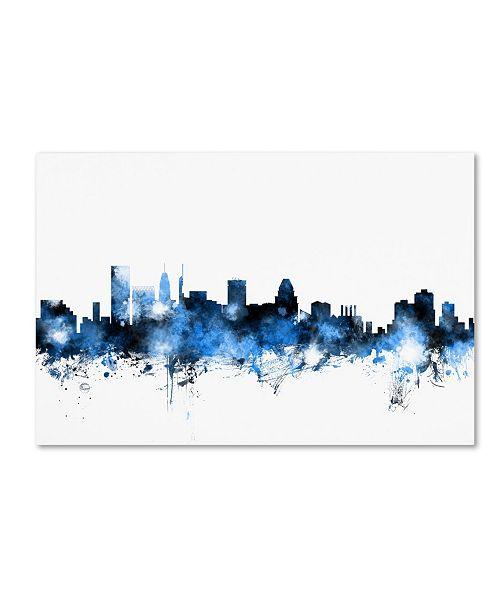 """Trademark Global Michael Tompsett 'Baltimore MD Skyline White' Canvas Art - 16"""" x 24"""""""