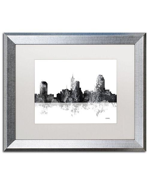 "Trademark Global Marlene Watson 'Raleigh North Carolina Skyline BG-1' Matted Framed Art - 16"" x 20"""