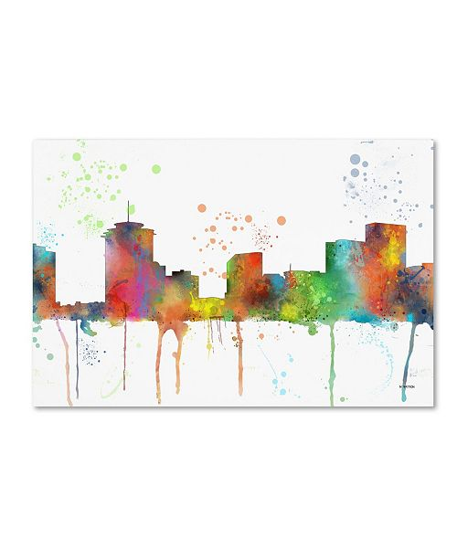 "Trademark Global Marlene Watson 'New Orleans Louisiana Skyline Mclr-1' Canvas Art - 16"" x 24"""